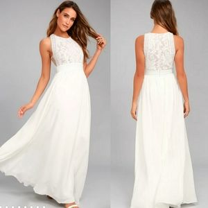 Lulu's Forever and Always White Lace Maxi Dress